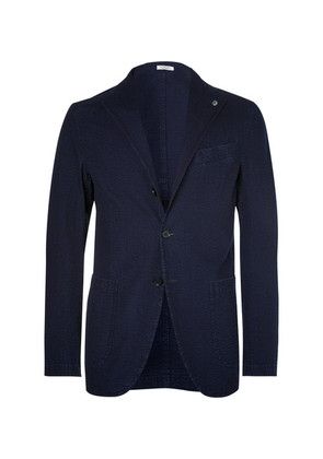 Indigo Cotton-seersucker Blazer