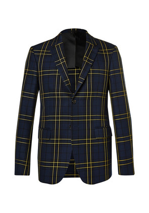 Navy Hanford Prince Of Wales Checked Cotton-twill Suit Jacket