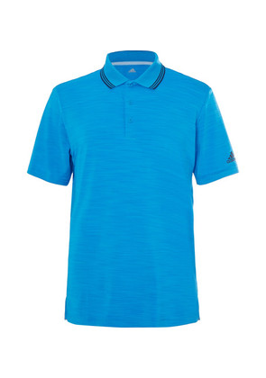 Adidas Golf - Ultimate 365 Contrast-tipped Mélange Stretch-jersey Polo Shirt - Bright blue