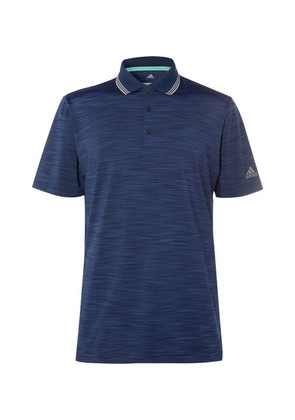 Adidas Golf - Ultimate 365 Contrast-tipped Mélange Stretch-jersey Polo Shirt - Navy