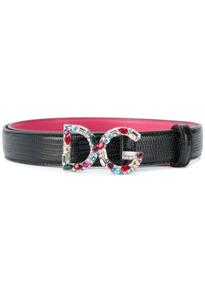 Dolce & Gabbana bejewelled buckle belt - Black