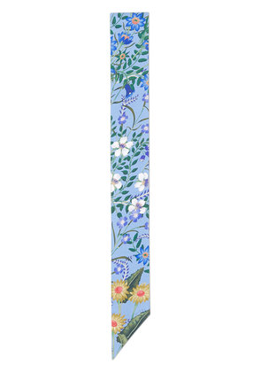 Gucci New Flora print silk neck bow - Blue
