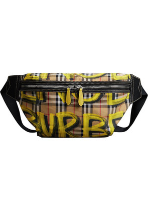 Burberry Large Graffiti Print Vintage Check and Leather Bum Bag -