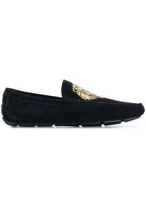 Billionaire lion embroidered loafers - Blue