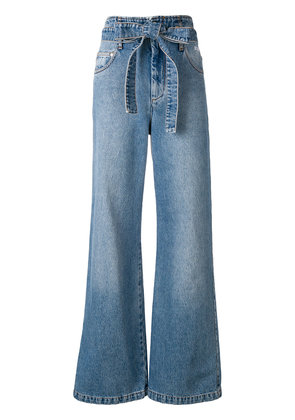 MSGM belted wide leg jeans - Blue