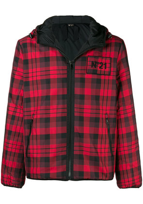 No21 checked hooded jacket - Red