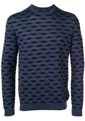 Emporio Armani patterned fine knit sweater - Blue