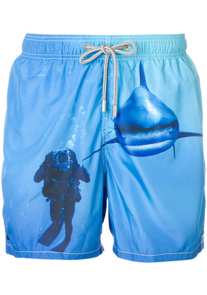 Mc2 Saint Barth shark print swim shorts - Blue
