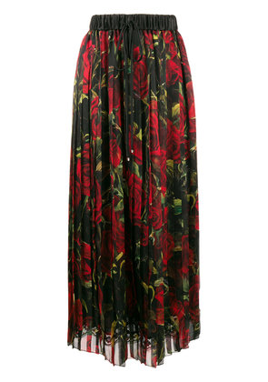 Dolce & Gabbana rose print pleated skirt - Black