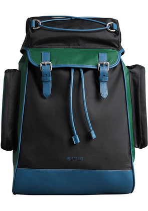 Burberry Tri-tone Nylon and Leather Backpack - Black
