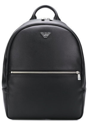 Emporio Armani logo plaque backpack - Black