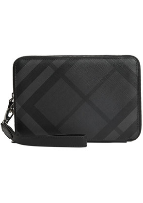 Burberry leather-trimmed London Check pouch - Grey