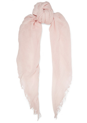 Chan Luu - Fringed Cashmere And Silk-blend Scarf - Pastel pink