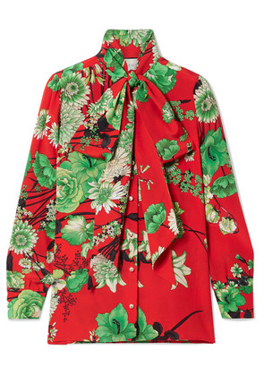 Gucci - Floral-print Pussy Bow Silk-satin Blouse - Red
