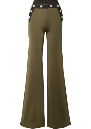 Balmain - Button-embellished Two-tone Stretch-knit Flared Pants - Army green