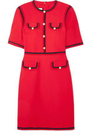 Gucci - Faux Pearl-embellished Wool And Silk-blend Mini Dress - Red
