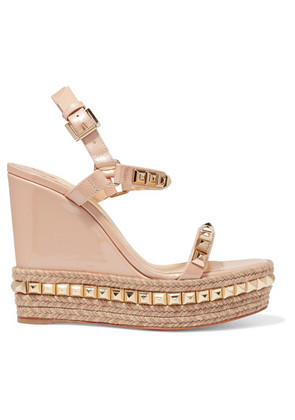 Christian Louboutin - Cataclou 120 Studded Patent-leather Wedge Platform Sandals - Beige