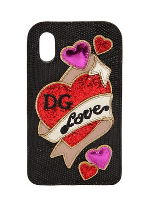 HEARTS EMBOSSED LEATHER IPHONE X