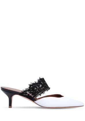 45MM MAISIE LACE & LEATHER MULES