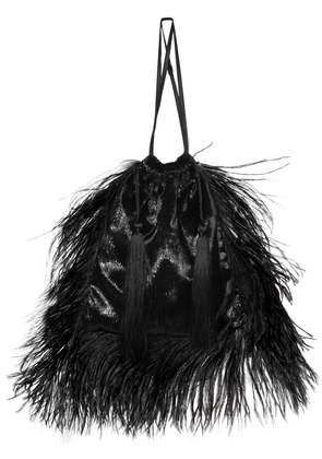 LAMINATED VELVET POUCH W/ FEATHERS