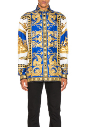 VERSACE Shirt in Abstract,Blue,Yellow