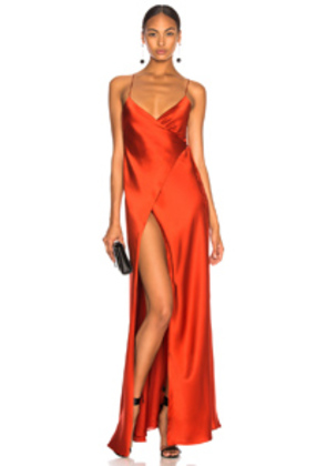Michelle Mason for FWRD Strappy Wrap Gown in Red