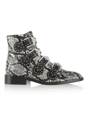 Givenchy Woman Studded Ankle Boots In Elaphe And Leather Black Size 38.5
