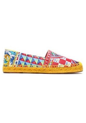 Dolce & Gabbana Woman Printed Leather Espadrilles Red Size 36