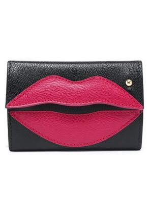 Charlotte Olympia Woman Appliquéd Two-tone Textured-leather Key Wallet Black Size -