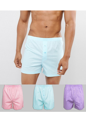 ASOS Woven Boxers In Pinks & Blue 3 Pack - Multi