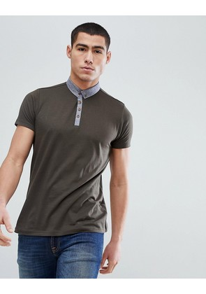 Brave Soul Contrast Chambray Collar Polo - Green