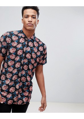 Brave Soul Short Sleeved All Over Floral Print Shirt With Revere Collar - Navy