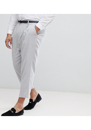 ASOS PLUS Tapered Smart Trousers In Ice Grey Cross Hatch Nepp - Ice grey