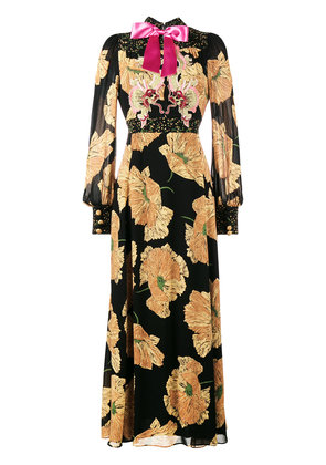 Gucci poppy print gown - Black