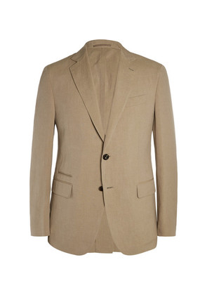 Tan Slim-fit Linen And Silk-blend Blazer