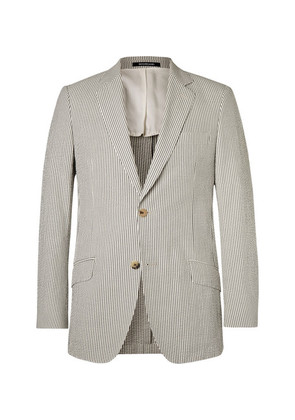 Grey Seishin Slim-fit Striped Cotton-seersucker Blazer