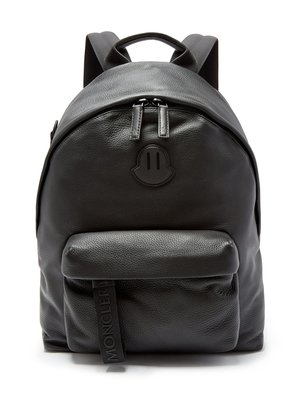 Logo-patch leather backpack