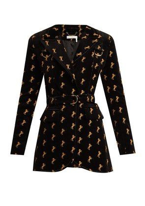 Horse-embroidered cotton-blend velvet jacket