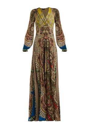 Bloodstone paisley-print silk gown