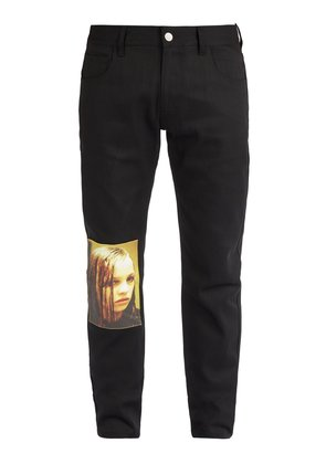 Christiane F-print patch mid-rise jeans