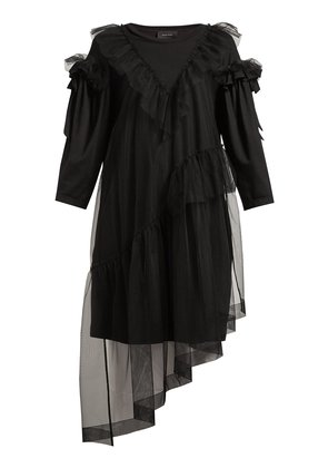 Ruffled tulle-overlay cotton T-shirt dress