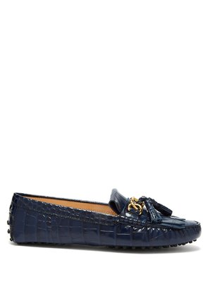Gommini crocodile-effect leather loafers