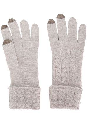 N.Peal cable knitted gloves - Nude & Neutrals