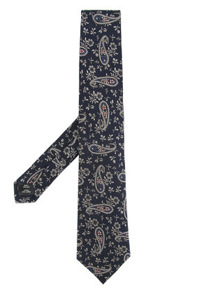 Gieves & Hawkes embroidered paisley tie - Blue