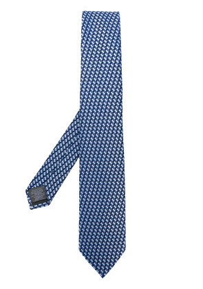 Z Zegna geometric pattern embroidered tie - Blue
