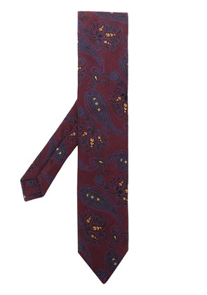 Etro paisley embroidery tie - Red