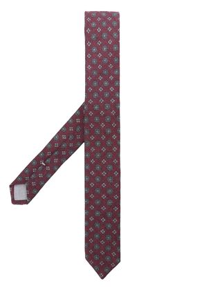 Eleventy floral jacquard embroidery tie - Red