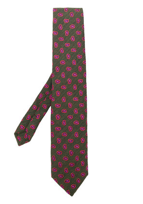 Etro paisley pattern embroidered tie - Green