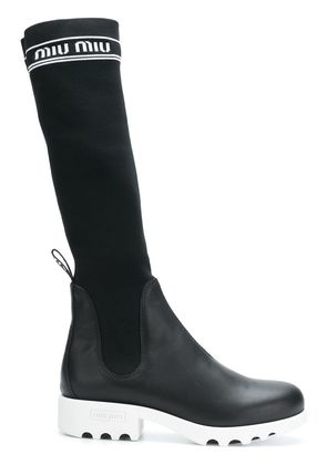 Miu Miu knee length sock boots - Black