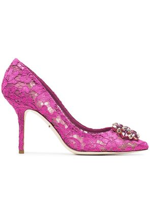 Dolce & Gabbana Pink Belucci 90 lace pumps with crystals - Pink &